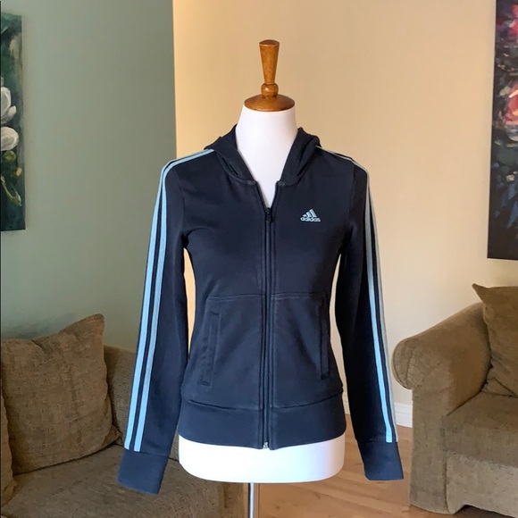 Adidas navy blue hoodie with light blue stripes